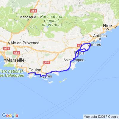 Sanary sur mer via St Tropez via Cannes par la corniche