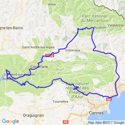 Route Napoléon, gorges du Verdon, de Daluis et du Cians