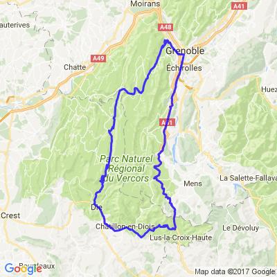 Col de Rousset depuis Grenoble par Villards de lans / Die / Grimone