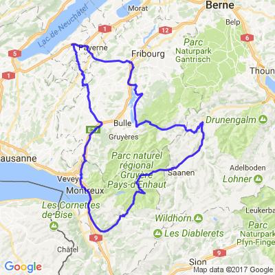 Romont-châtel-Aigle-les Mosses-Gstaad-Zweisimen-Jaun-La Roche