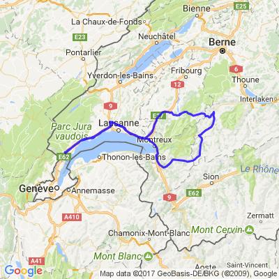 Nyon/ Aigle/ la Jaun pass/ Gruyère/bulle / Chatel Saint Denis/ la corniche et retour
