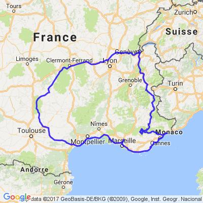De Genève via l'Auvergne et la côte d'Azure