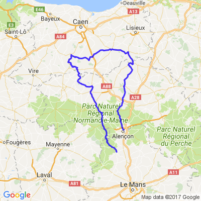 Au départ d'Alençon, en passant par le pays d'auge, la suisse normande et retour par les alpes Mancelles