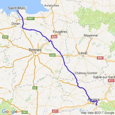 Angers - St Malo via Vitré.