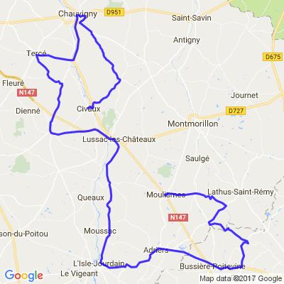 Moulisme > Civaux via Chauvigny