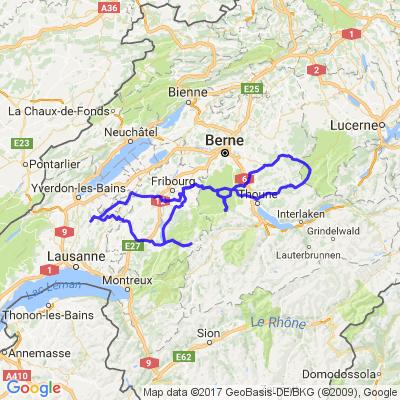 Bercher - Tentlingen - col du Gurnigel - Trubscharen - Col du Jaun - Bercher