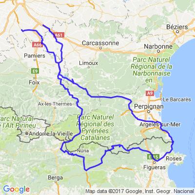 Toulouse, Espagne, Cerbère, Quillan, Toulouse