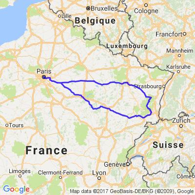 Route des crêtes dans les Vosges du sud, en partant de Paris