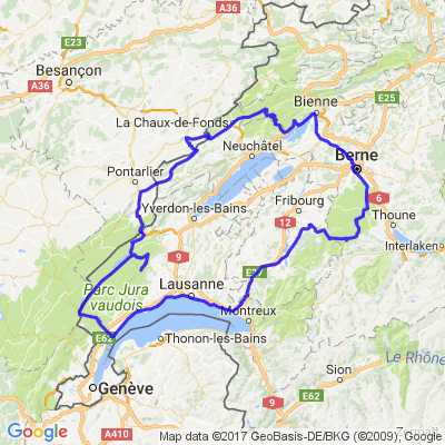 Parcours via une partie du Jura