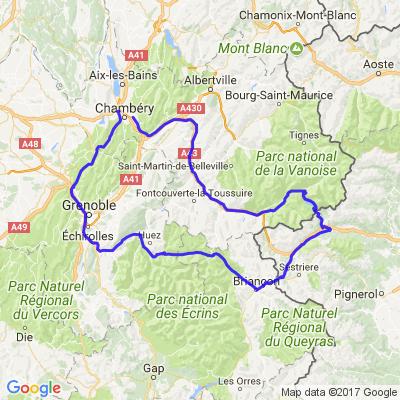 Chambéry à Chambéry via Mont Cenis et Sestrière (Italie)