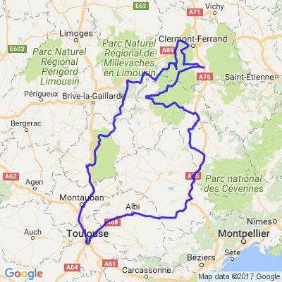 Boucle au départ de Toulouse : Quercy - Auvergne - Aubrac :)