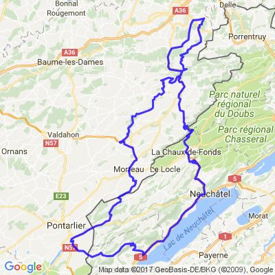 Depuis Vandoncourt - Vus des Alpes - Vallée de la Brévine - Le lac des Taillères - La vallée du Déssoubre - Point de vus du Montaigu