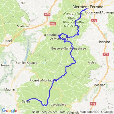 Clermont Ferrand (63) à Salers (15)