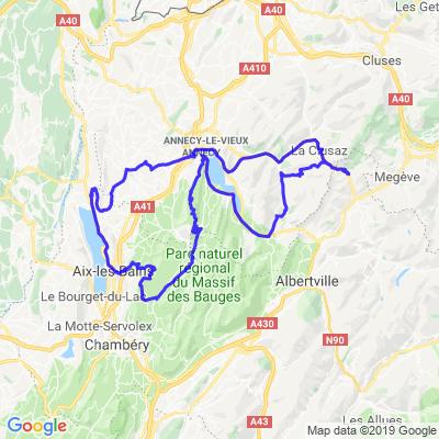 Rando autour des grands lacs: La Giettaz - Annecy - Aix les bains - Annecy - La Giettaz