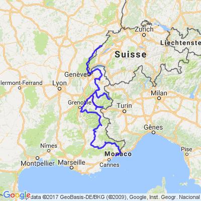 Haut-Doubs => Nice - Route des grandes alpes