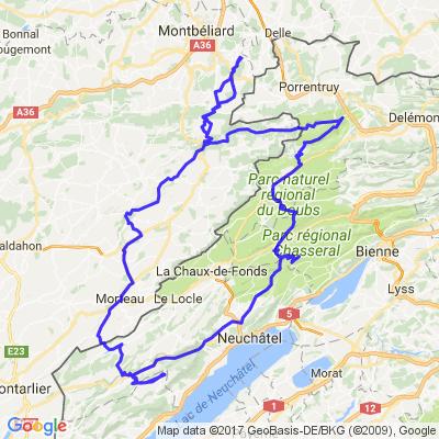 Vallée du Doubs - Chasseral - Creux du Van - vallée du Déssoubre.