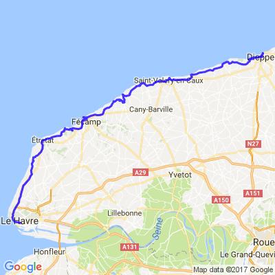 départ le havre direction Dieppe pars les côtes
