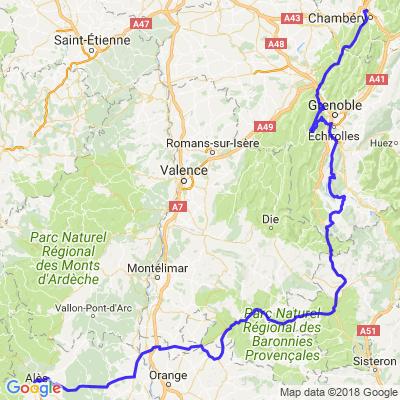 Alès à Grenoble et Chambéry via le Vercors