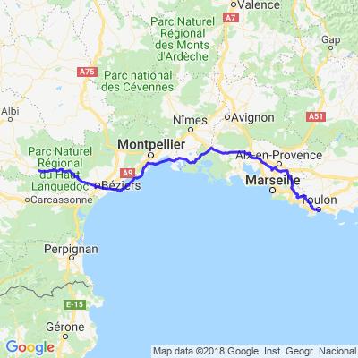 Corses 2018 route vers Toulon