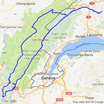 Suisse - Jura - Ain (Bercher - Le Petit-Abergement - Saint-Claude - Bercher)