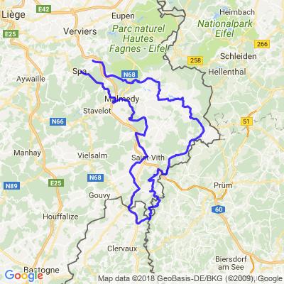Cantons de l'Est Belgique Boucle au départ des environs de Spa 170km
