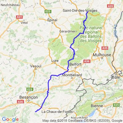 Balade Jura - Jour 1 - Partie 2b - Provenchères - Ornans par ballon d'Alsace