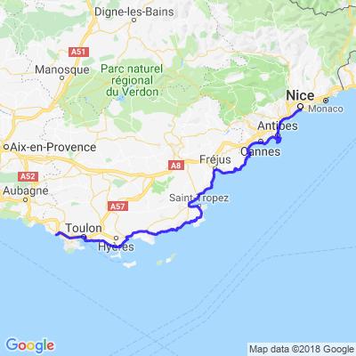Bandol à Nice par la côte