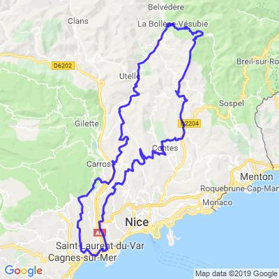 Cagnes sur mer - St Jeannet -Col du turini - Lucéram -Aspremont