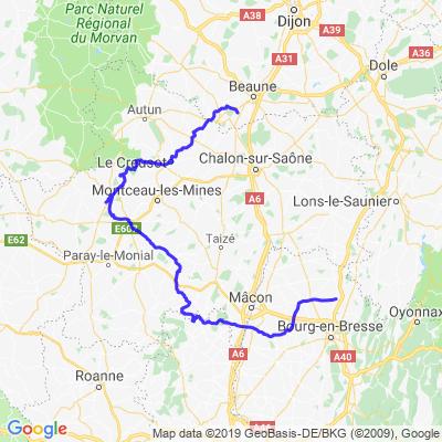 Meursault vers Marboz par Charollais...