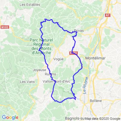 Boucle en Ardèche en partant de St Julien de Peyrolas