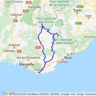 Toulon - Col de la Bonette