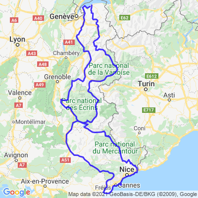 Boucle vers Nice depuis les Alpes