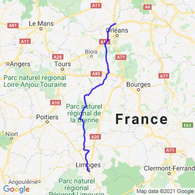 Limoges vers Artenay
