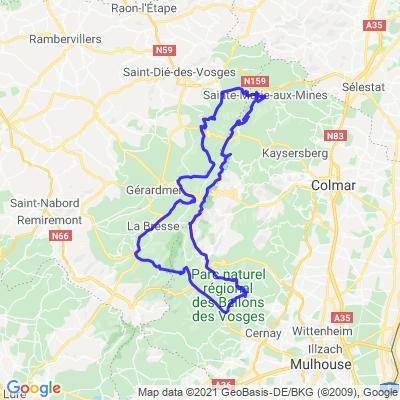 Boucle Sainte-Marie-aux-Mines à Kruth (195 Kms)