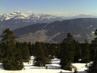 Vue sur le massif des Bauges depuis le Col du Semnoz