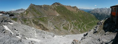 Stelvio road (48 bends) fromTibet Hütte