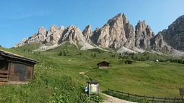 Dolomite mountains at Passo di Campolongo